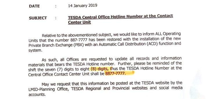 New TESDA hotline number