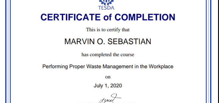 RTCCL Guiguinto staff headed by their Center Chief Joel de Jesus completed and passed the TESDA Online Program (TOP) on Performing Proper Waste Management in the Workplace.
